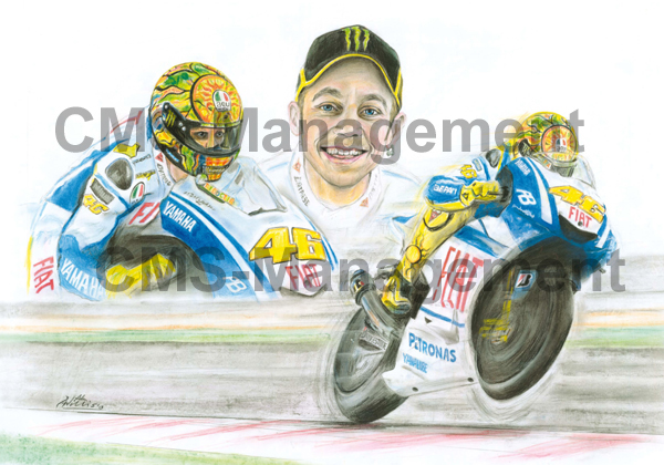 Valentino Rossi Portrait Artwork riding the Yamaha MotoGP bike. Collectors limited edition
